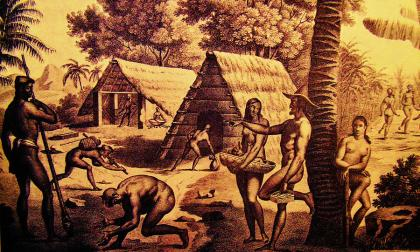 Aborigens de Guam representados num antigo gravado.